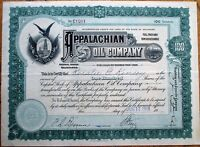 'Appalachian Oil Company' 1918 Stock Certificate-Oil Well/Drill & American Flags