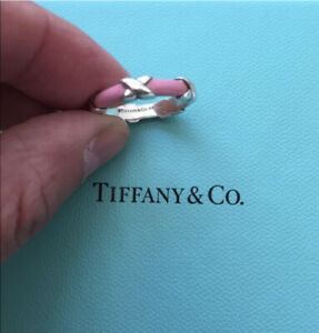 NEW Tiffany & Co. Signature Pink Enamel Sterling Silver X Ring Size 5