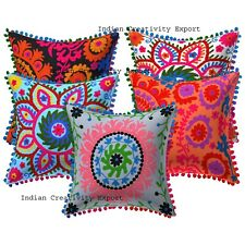 "Indien Handmade Suzani Embroidered Camel Design Cushion Case 16x16"" Pillow Cover"