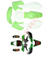 Green Plastics Fender Fairing Graphic Sticker Decal Kit for Kawasaki KLX110 KX65