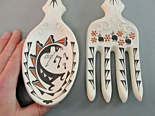 B.L. CERNO ACOMA NATIVE AMERICAN POTTERY FORK SPOON SET SIGNED KOKOPELLI BIRDS