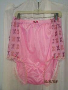 Sissy Handmade Candy Pink Nylon Tricot Tall Brief Panties Sz 40