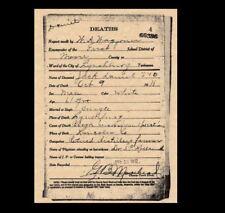 Jack Daniels 1911 DEATH CERTIFICATE Old No. 7 Whiskey, Lynchburg,TN