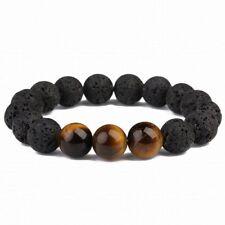 8MM Black Lava Tiger Eye Bracelet men Spirituality pray Tibet silver Chakas