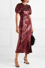 BNWT Rixo Laura Jackson Velvet Trimmed Sequinned Crepe Midi Dress SZ  M