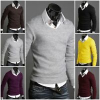 Mens Long Sleeve Knitted Sweater Slim Fit Muscle Sweatshirt Pullover Jumper Tops