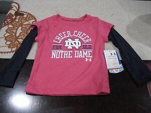 GIRLS Under Armour Kids Notre Dame LONG SLEEVE T SHIRT 24 MONTHS PINK/NAVY NWT