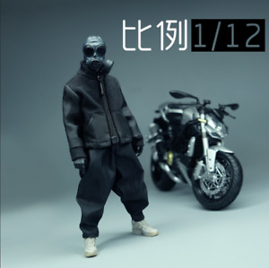 """1/12 Scale Soldiers Accessories Clothes Black Trendy Jacket Coat Model F 6"""" Doll"""