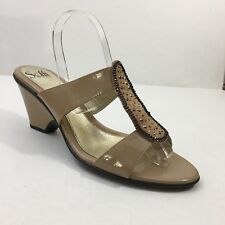 Womens Sofft Beige Slide On Sandals W/Studs Size 11M Cute Work Casual