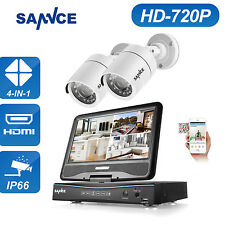 SANNCE LCD Monitor 4CH 1080N DVR 720P HD Video Home Security Camera Wired System