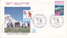 Enveloppe 1er jour FDC n°807 - 1972 : Tourisme Pédestre Sentier de Randonnée