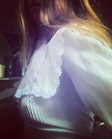 Vintage Australian Chiffon Lace 80s Ivory Button Back blouse Sheer Top