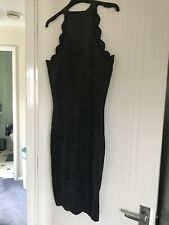 Lipsy Dress Size 12 Bodycon Black Gold Scalloped Neck And Bottom Bnwt