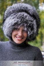 SILBERFUCHS Pelzmütze Wintermütze Schapka Damen Fox Fur Hat Fellmütze Pelz Mütze