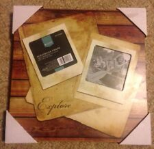 """*NEW* Target Home """"Explore"""" Scrapbook Frame Holds Two 4""""x4"""" Pictures"""