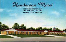 Postcard TX Marshall Henderson Motel Highways 43 & 59 - LINEN - 1940s A19