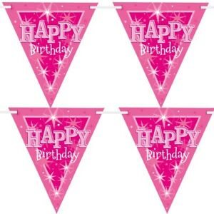 Rosa Sparkle Happy Birthday Carta Bandiera Striscione