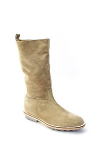 Robert Clergerie Womens Suede Pull On Mid Calf Boots Beige Size 9.5 B