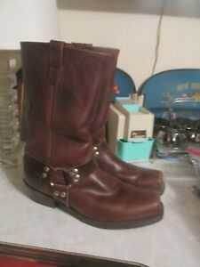 ORVIS BROWN LEATHER HARNESS BIKER BOOTS, 13 M