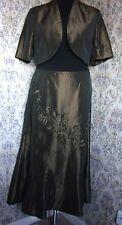 Brown 2 piece party suit by KLASS Size 16 Skirt & short jacket Metallic sheen