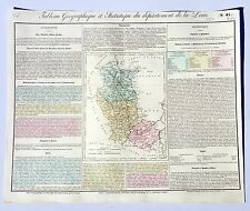 Dépt 42 - Rare Carte Géographique & Statistique de la Loire Aquarellée de 1826