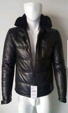NWT Zara Men's Black Sheep Leather Faux Fur Hood Zip Up Jacket Size M Slim Fit