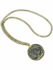 Gold 70s Coin Medallion Necklace Hippy Chain Adults Unisex FancyDress Accessory