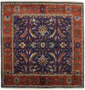 Navy Blue Oushak Chobi Floral Design 8X8 Square Oriental Rug Hand-Knotted Carpet