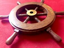 "Ships Wheel, 6"" Solid Teak Wood & Brass, Coaster, Wall Art, Boat Nautical Decor!"