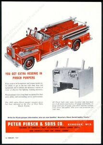 1957 Peter Pirsch fire engine truck illustrated vintage print ad