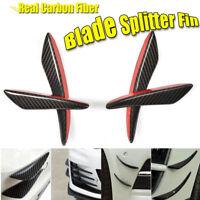 4Pcs Car Front Bumper Canards Splitter Real Carbon Fiber Body Spoiler Fins Lip