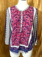 Lucky Brand Womens Small Pink Floral Long Sleeve Shirt Blouse Peasant BOHO Top