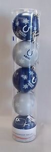 Indianapolis Colts 5 pack Shatter Proof Plastic Christmas Tree Ornaments