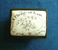 ANTIQUE GEORGIAN  C18th BILSTON ENAMEL PATCH BOX , '' A pledge of love ''