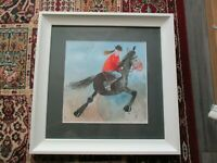 Framed Alex Clark Horse and rider print