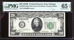 1928-B $20 Federal Reserve Note Chicago G12026981A PMG Gem Unc 65EPQ