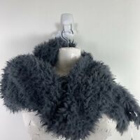 2 Chic Womens Hooded Wrap Scarf One Size Gray Warm Faux Fur New MSRP $45 SX54
