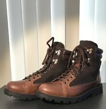 Gucci Men's Boot Brown Leather Guccissima GG Web Lug Sole 295321 5 G