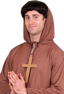 Adults Gold PVC Monks Cross Religious with Black Cord One Size Fancy Dress