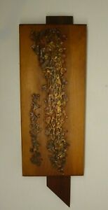 BRUTALIST WALL SCULPTURE WOOD BRASS PATINATED UNSIGNED MID CENTURY ABSTRACT