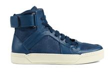 Gucci Men's Blue Nylon Leather Guccissima High Top Sneakers 7027 Sz 9.5G