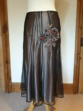 Coast Nude Skirt, Fine Black Net Overlay & Silk , Bead, Embroidery. Size 12