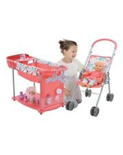 Play Set Doll Care Centre Folds Pram & Highchair & 15 Accessories Toy Girls Gift