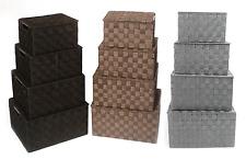 Lidded Tapered A4 Paper Kitchen Cupboard Storage Box Hamper Basket Metal Handles