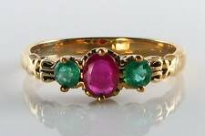 RARE COMBO  9CT GOLD RUBY & EMERALD ART DECO INS TRILOGY RING FREE RESIZE