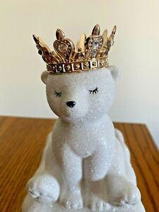 Bath & Body Works Royal Polar Bear Glitter Ceramic Hand Soap Holder Gold Crown