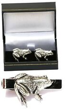 Frog Toad Cufflinks & Tie Clip Bar Tack Slide Mens Set British Reptile Gift