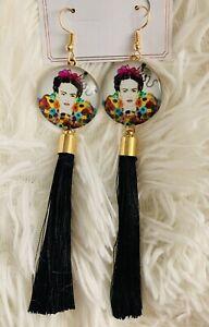 Frida Kahlo Pom Pom Earrings Black