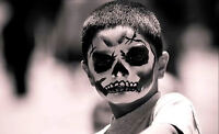 Framed Print - Evil Day of the Dead Boy's Face (Picture Poster Gothic Horror Art