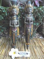 Balinese Couple (rama & sinta) x 40cm - wall hanging - antique coloured tones